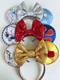 Three different options: Cinderella inspired ears Belle inspired ears Snow White Inspired ❤️Fits most sizes❤️ week turnaround ❤️ Save by purchasing from LEBOWNITTE. Disney Minnie Mouse Ears, Diy Disney Ears, Disney Diy, Disney Crafts, Cute Disney, Disney Style, Walt Disney, Disney Ears Headband, Disney Headbands