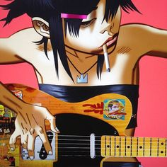 Noodle is the official lead guitarist of Gorillaz. As of the events of the El Mañana Incident, she had disappeared for approximately four years. However, she was seen on the cruise liner M. Harriet, which was subsequently attacked by pirate jets and sunk. Noodle was seen fleeing in a yellow dingy, where she is last seen with a gigantic Russel, and is assumed to be on her way to the Plastic Beach. During her absence, her position as the band's guitarist was substituted by Cyborg Noodle...