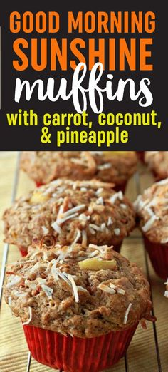 With sunny bits of carrot, coconut, and pineapple, these super-moist, super happy muffins are another reason to smile on even the dreariest of days. Coconut Muffins, Carrot Cake Muffins, Bran Muffins, Carrot Cakes, Healthy Carrot Muffins, Pancake Muffins, Mini Muffins, Monkey Bread, Healthy Breakfast Muffins