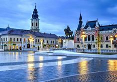 Union square (Piata Unirii) seen at the blue hour in Oradea, Romania © Catalin Lazar / Shutterstock Capital Of Romania, 1. Mai, Visit Romania, Romania Travel, Union Square, Most Beautiful Cities, Adventure Is Out There, Glasgow, Montana