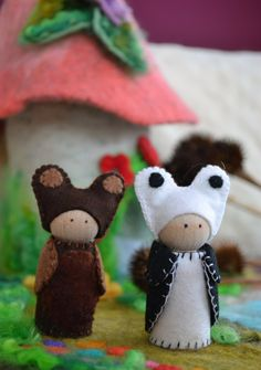 Fox Bear Panda and Deer Wood Peg Animals Waldorf by LasManitos