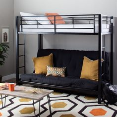 Modern Black Metal Twin Futon Bunk Bed