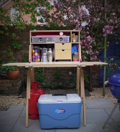 "Just add friends! - MESS BOX Camping Kitchen and stand - Ready for an evening of food, booze, friends & laughter in the garden- Fitted with the awesome 22"" Cook Partner gas stove - All available from www.mohicantents.co.uk"