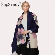 Deal Today $11.69, Buy SupSindy Winter scarf Thick soft warm Cashmere wool scarf for women sided luxury brand Flowers Shawl top quality Scarves black