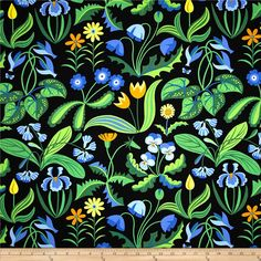 Enchanted Millefleurs Periwinkle from @fabricdotcom  Designed by Jane Sassaman for Free Spirit, this cotton print is perfect for quilting, apparel and home decor accents. Colors include black, shades of green, shades of blue, white and yellow.
