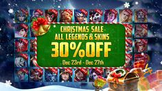 In celebration of Christmas, all Legends in the Shop will be OFF for five days! Moba Legends, Christmas Sale, Celebration, Day, Shop, Store