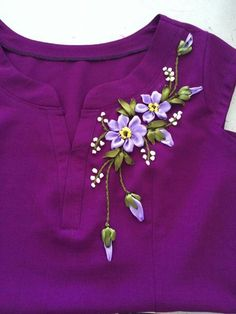Wonderful Ribbon Embroidery Flowers by Hand Ideas. Enchanting Ribbon Embroidery Flowers by Hand Ideas. Ribbon Embroidery Tutorial, Hand Embroidery Dress, Kurti Embroidery Design, Embroidery On Clothes, Flower Embroidery Designs, Embroidery Suits, Embroidered Clothes, Hand Embroidery Stitches, Silk Ribbon Embroidery