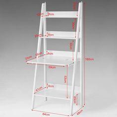 Haotian Storage Display Shelving Ladder Shelf Bookcase with Desk/Memo Board and 3 Shelves, – Desk Ideas Home Office Shelves, Desk Shelves, Display Shelves, Shelving, Shelf Wall, Shelf Board, Corner Shelves, Floating Shelves, Desks For Small Spaces