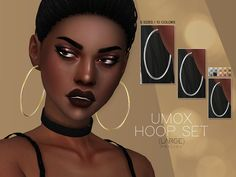 UMOX Hoop Set (Large) for The Sims 4 Accesories - Accesories jewelry - Accesories bag - Accesories i Sims 4 Cc Skin, Sims 4 Mm Cc, Sims Four, Sims 4 Mods Clothes, Sims 4 Clothing, Maxis, Sims 4 Nails, Sims 4 Piercings, Sims 4 Tattoos
