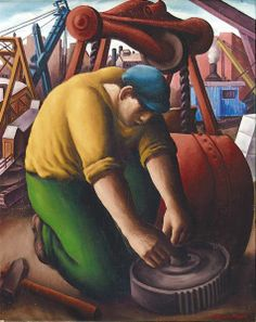 """""""Man and Machinery,"""" Paul Meltsner, oil on canvas, 30 x 24"""", private collection."""