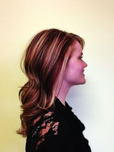 Red, brown and blonde foiling. Cut and color by Sam.