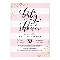 Pink Stripe Glitter Dots Child Bathe Invitation.  Take a look at more by clicking the picture
