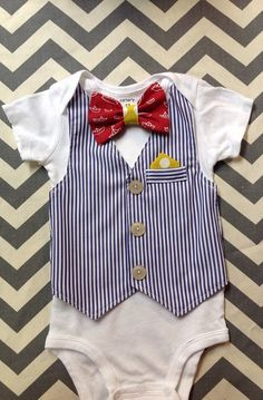 Nautical Baby Boy Red Boat Tie Pocket Square by UltraVioletGirl