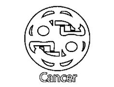 Cancer Glyph Colouring Sheet