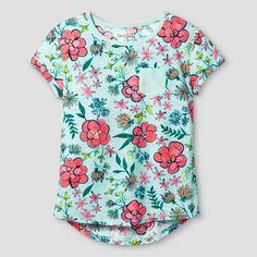f4e891cd91 Girls Pocket Tee Cat   Jack™ - Mint Floral Print   Target