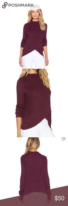 Free People Mock Neck Boho Wrap Sweater Small New with tags Stylish sweater Free People mock neck sweater in size small Guaranteed new & authentic  with tag attached Pullover style, long sleeves  Color is a Plum / Burgundy MSRP $88 Free People Sweaters