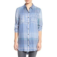 Treasure&Bond Plaid Tunic Shirt ($78) ❤ liked on Polyvore featuring tops, tunics, blue colony ultra linear, oversized tunic, blue shirt, oversized long sleeve shirt, longsleeve shirt and net shirt