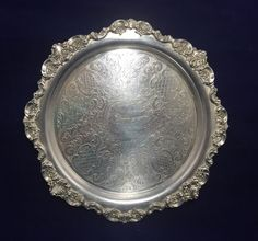"""ANTIQUE VINTAGE WALLACE BAROQUE SILVER PLATE 9 1/2"""" ROUND TRAY #264 ETCHED  #Wallace"""