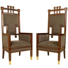Pair of Austrian Art Nouveau Armchairs, Circa 1900  HEIGHT:4 ft. 5 in. (135 cm) WIDTH:23 in. (58 cm) DEPTH:21 in. (53 cm) http://www.1stdibs.com/furniture/seating/armchairs/