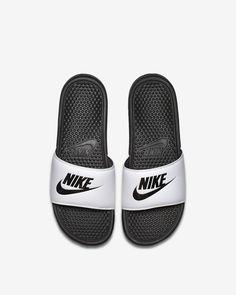 Get Nike Benassi White/Black Women Shoes Compliant price Nike Slides Mens, Men Slides, Nike Sandals, Nike Shoes, Nike Air Max For Women, Nike Women, Nike Benassi Slides, Nike Flyknit, Sock Shoes