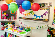 Draw inspiration from these fun classroom photos, then shop for your favorite items in the Schoolgirl Style store! Bulletin Board Letters, Banner Letters, Pennant Banners, Classroom Decor Themes, Classroom Organization, Classroom Ideas, Classroom Design, Hallway Decorations, Rainbow Decorations