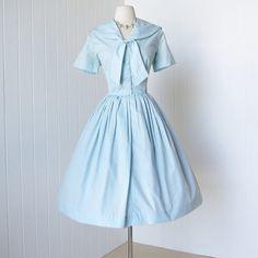 2479a06a614 vintage 1950 s dress ...fun DALLAS DESIGN of texas sky blue embroidered  sailorette sailor full skirt pin-up shirtwaist dress l xl
