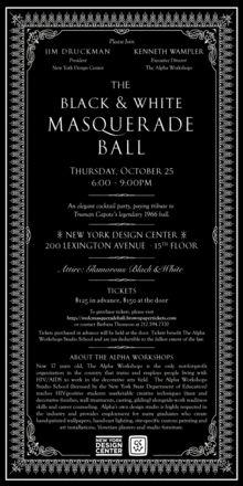Invitation --The Black and White Masquerade Ball