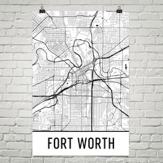 Fort Worth Map Art Print, Fort Worth TX Art Poster, Fort Worth Wall Art, Fort Worth Print, Map of Fort Worth, Birthday, Gift, Modern, Art