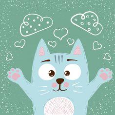 we love cats. Cute Baby Cats, Cute Babies, Animal Drawings, Cute Drawings, Baby Animals, Cute Animals, Munchkin Cat, Cat Character, Easy Paintings