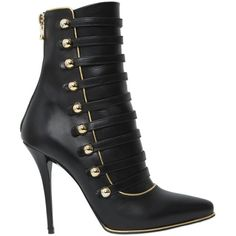 Balmain Women 110mm Alienor Leather Boots found on Polyvore featuring polyvore, women's fashion, shoes, boots, black, black leather heel boots, black high heel boots, leather sole boots, high heel shoes and back zip boots