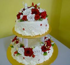 Two Tier Wedding Cakes | Jasmeen Home Delight 2 Tier Wedding Cake Red Picture