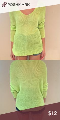 Lime green thin knit sweater Nasty gal sweater, ok condition. Nasty Gal Sweaters V-Necks