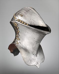 Tournament Helm (Stechhelm) ca. 1500 German, probably Nuremberg Steel, copper alloy The Stechhelm formed part of a highly specialized tournament armor worn solely for the Gestech, or German joust, fought with blunted lances. The object was to break lances or to unhorse the opponent. This helmet was probably part of a series kept in the Nuremberg arsenal for civic tournaments.