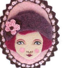 Flapper Girl Cameo Felt Brooch Fabric Brooch Art Brooch by yalipaz, $22.00