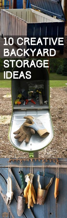 Creative ways to add storage to your backyard. Great ways to organize and store your yard tools and other outdoor items.