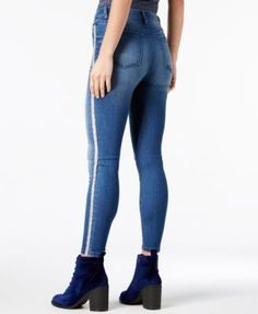 Tinseltown Juniors' Glitter-Stripe Skinny Jeans - Black 11
