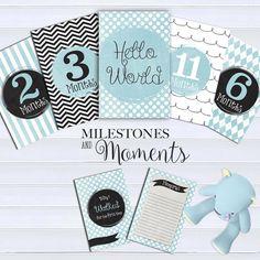 Boy Baby Milestone cards (26 cards), Baby Milestone Cards, Baby Photo props…
