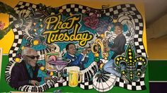 Mural by Ed Mestyanek for phat tuesday desoto tx