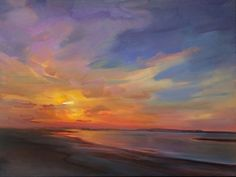 beautiful use of color in this coastal sunset painting...