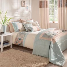 Catherine Lansfield Border Patchwork Bed Set in Duck Egg Blue Blue And Cream Bedroom, Blue Bedroom Decor, Bedroom Themes, Bedroom Wall, Bedroom Ideas, Master Bedroom, Teen Bedroom, Duck Egg Blue Bedroom, Bed Sets