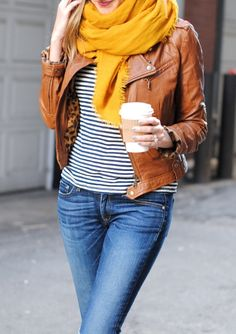 The perfect fall look: a striped tee, jeans, your favorite scarf, and a cognac leather jacket!