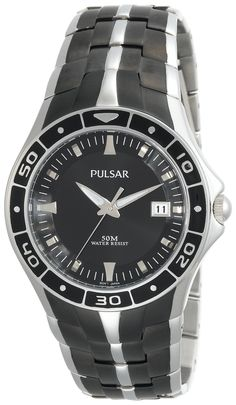 Pulsar Men's PXH637 Dress Sport Black Ion-Plated Finish Watch. Quality Japanese-quartz movement. Date window at three o'clock. Black ion plated finish. Hardlex crystal. Water resistant to 165 feet (50 M): suitable for swimming and showering.