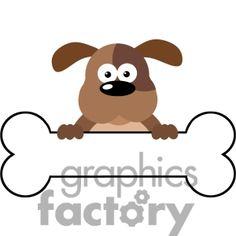 dog bone clip art   5170-cartoon-dog-over-a-bone-banner-royalty-free-rf-clipart-image
