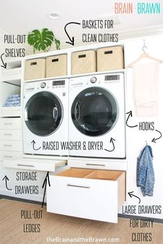 We walk you through our carefully planned laundry room ideas and the 7 things we think EVERY organized laundry room should have. (Ours now has even more storage space than we need!) Laundry Shelves, Laundry Room Organization, Laundry Room Design, Laundry Storage, Laundry Rooms, Small Storage, Storage Spaces, Pull Out Shelves, Laundry Room Inspiration
