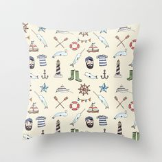 Nautical Pattern Throw Pillow by Brooke Weeber - $20.00