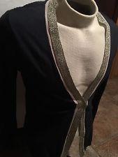 Women's Knit Sweater Dana Buchman SMALL Black/Gold Metallic Cardigan NICE!