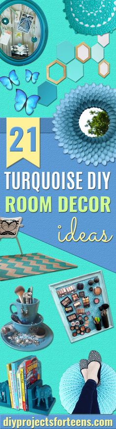 Cool Turquoise Room Decor Ideas - Fun Aqua Decorating Looks and Color for Teen Bedroom, Bathroom, Accent Walls and Home Decor - Fun Crafts and Wall Art for Your Room in Colors of Teal, Marine and Turquoise Blue #teenroom #teendecor #roomdecor #diydecor #teencrafts via @diyprojectteens Turquoise Home Decor, Turquoise Room, Blue Home Decor, Diy Home Decor Projects, Diy Projects For Teens, Fun Projects, Decor Ideas, 31 Ideas, Craft Ideas
