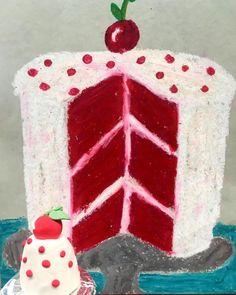 Red velvet anyone? 2-D to 3-D! #redvelvetcake #drawinglesson #sculpture #oilpastels #matching #bakery #crayola #bakeshop #thiebaud #popart