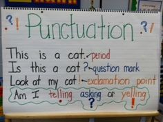 Punctuation Chart for Kindergarten/First grade. Write one sentence, come up with ways to change it to use different punctuation.