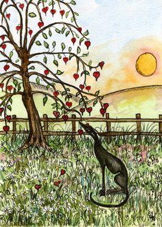 The Tree of Love - Valentine Greyhound Art Print. £15.00, via Etsy.